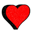 red heart drawing is created with a ballpoint pen vector image vector image