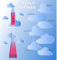 rocket flying through the clouds vector image vector image