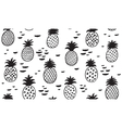 Seamless pattern with pineapples in black