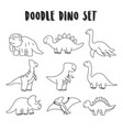 set element doodle dino dinosaurs coloring vector image