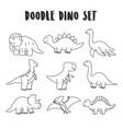 set element doodle dino dinosaurs set coloring vector image