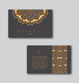 set of ornamental business golden cards with vector image vector image