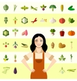 Set of vegetable icons and a gardener woman vector image