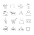 shopping outline icon set vector image vector image