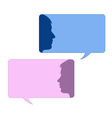 Speech bubbles with male and female face vector image vector image