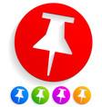 stylish thumbtack pushpin icons office stationery vector image