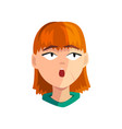 surprised redhead girl female emotional face vector image
