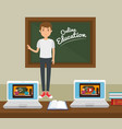 teacher man with chalkboard online education vector image vector image