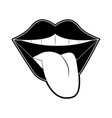 tongue out pop art vector image vector image