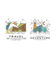 travel logo original design set adventures and vector image vector image