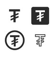 tugrik currency symbol set vector image