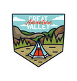 vintage great valley adventure logo hiking emblem vector image vector image