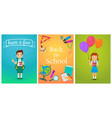 welcome back to school cute school pupils kids vector image vector image