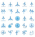 wind turbine colored icons wind power vector image