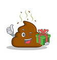 with gift poop emoticon character cartoon vector image