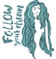 women with blue long hair girl face on white vector image vector image