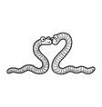 worm love couple hug sketch vector image