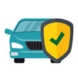 color silhouette car with protective shield vector image