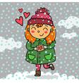 Cute girl holding love letter vector image