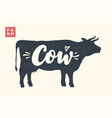 isolated cow silhouette with lettering vector image