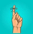 knot on finger pop art vector image