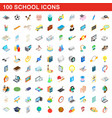 100 school icons set isometric 3d style vector image vector image