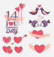 14 february valentines day design elements set vector image