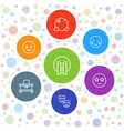 7 cheerful icons vector image vector image