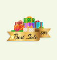 best sale 50 off poster with gold ribbon gift box vector image vector image