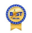 best seller award ribbon icon gold blue badge vector image