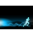 blue shining runner on the black background vector image vector image