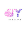 by b y zebra lines letter logo design with vector image