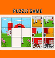 cartoon cow of educational puzzle vector image