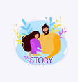cartoon man woman together couple hug love story vector image vector image