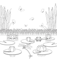 Coloring page with pond inhabitants and plants vector image vector image