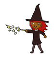 comic cartoon witch girl casting spell vector image vector image