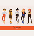 cute girls in hipster street casual style vector image vector image