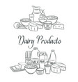 dairy product banners sketch vector image vector image