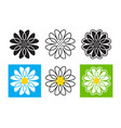 Daisies icons set daisy emblem chamomile logo