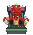 dragon videogame character cartoon on arcade vector image