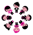 emo kids circle vector image