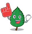 foam finger mint leaves mascot cartoon vector image vector image