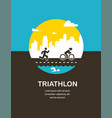 for triathlon poster flat vector image vector image