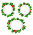 frames with holly and pine isolated on white vector image vector image