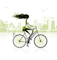 Girl cycling in the city vector image vector image