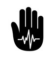 hand open palm heartbeat pulse logo vector image vector image