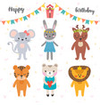 happy birthday design with cute cartoon animals vector image vector image
