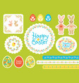happy easter set with colored eggs for vector image vector image