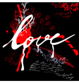 inscription love on grunge background vector image vector image