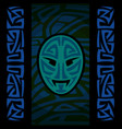 maori mask with tribal pattern vector image